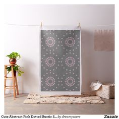 Cute Abstract Pink Dotted Rustic Stone Grey Fabric