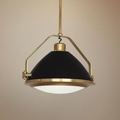 Robert Abbey Apollo Antique Brass and Black Pendant Light - #1H879 | LampsPlus.com