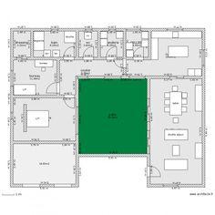 plan maison en u avec patio