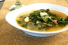 Portugese Potato Chorizo Soup with Kale Portuguese Potatoes, Portuguese Soup, Kale Soup, Soup And Salad, Chorizo Soup, Yummy Food, Yummy Recipes, Healthy Recepies