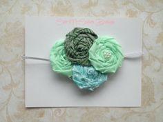 Shabby Chic Headband Baby Headband Green by CuteNCoutureBoutique, $10.00
