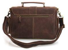 Image of Vintage Handmade Antique Crazy Horse Leather Briefcase Messenger  Laptop Bag in Old Dark Brown d13d78dbd0