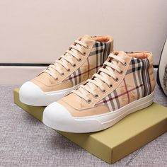 Burberry Haymarket Check Leather Sneakers In Beige Beige Sneakers, Leather Sneakers, High Top Sneakers, Burberry Outlet Online, Cheap Burberry, Check Dress, Dress Outfits, Lace Up, Brown