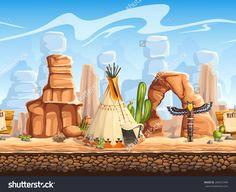 Seamless Horizontal Background Wild West. Set 3 For Video Web Game User Interface Стоковая векторная иллюстрация 264472499 : Shutterstock