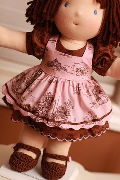 Waldorf Doll Clothes for 14 inch Waldorf Doll... In dk green/pink for Alice Rosabelle
