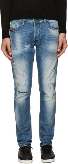 Diesel - Blue Distressed Thavar Jeans