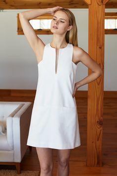 white dress Cut Out Mod Dress - White - Emerson Fry - Modest Dresses, Simple Dresses, Cute Dresses, Casual Dresses, Summer Dresses, Modest Clothing, White Dress Casual, Church Dresses, Shift Dresses