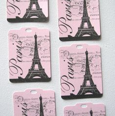 pink Paris Eiffel tower vintage style tags perfect for your Paris party set of 8