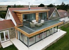 veranda ultra moderne, veranda toit plat, modele de veranda vitrée, design rema...