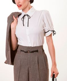 Look at this Tatyana White & Black Puff Top - Women & Plus - Women & Plus on #zulily today!