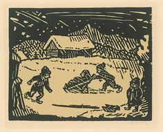 Ľudovít Fulla - Zima 1946) Naive, Folk Art, Primitive, Winter, Beautiful Things, Illustration, Artist, Portraits, Painting