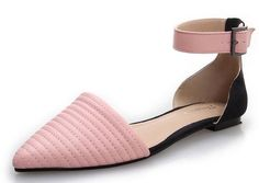 Crystal pointed patent leather shoes singles shoes with flat sandals buckle