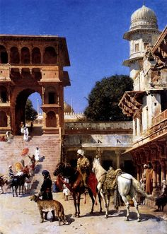 Weeks, Edwin Lord (b,1849)- Departure For Hunt  {Supposedly one Indian Prince had 4000 hunting cheetahs}