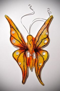 Fairy Butterfly Fused Glass Silver Art Fantasy Decor
