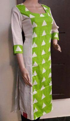 View our collection of kurtis online Kurti Sleeves Design, Kurta Neck Design, Churidar Designs, Kurta Designs Women, Dress Neck Designs, Blouse Designs, Long Kurti Patterns, Kurtha Designs, Simple Kurti Designs