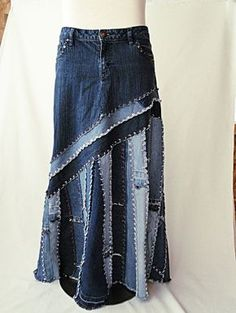 Long Jeans Skirt Made to Order Long Ella Denim Skirt image 1 Artisanats Denim, Raw Denim, Jean Diy, Estilo Denim, Denim Crafts, Jean Crafts, Denim Ideas, Jeans Rock, Old Jeans
