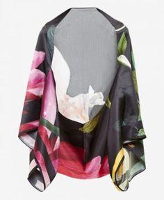 661251312 Citrus Bloom silk cape scarf Cape Scarf