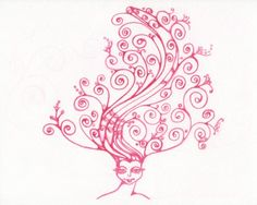 Think beautiful original water color girl with fun swirling pink hair
