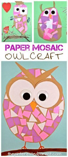 Paper Mosaic Owls Construction paper mosaic owl craft - easy arts and craft for kids and preschoolers. Great for cutting and scissor skills. Arts And Crafts For Adults, Easy Arts And Crafts, Paper Crafts For Kids, Crafts For Girls, Fall Crafts, Newspaper Crafts, Owl Crafts Preschool, Toddler Crafts, Craft Activities