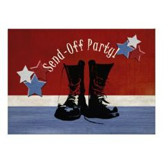 Military Going Away Party Ideas | Army Boots Send-Off Party invitation