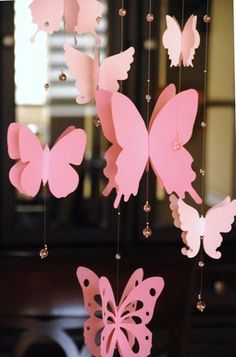 paper butterfly mobile, baby nursery, room decoration in shaded pink - Late Tutorial and Ideas Butterfly Birthday Party, Butterfly Baby Shower, Butterfly Mobile, Butterfly Crafts, Butterfly Room, Kids Crafts, Diy And Crafts, Paper Butterflies, Paper Flowers