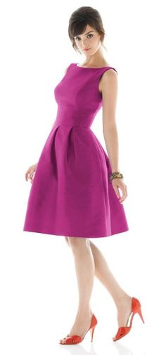 Magenta dress with boatneck