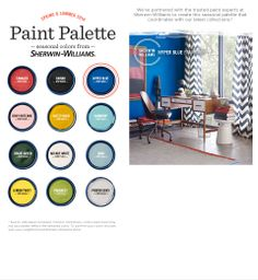 2014 Spring & Summer color palette from Sherwin Williams and West Elm -bold accent colors for all your mid-century modern visions.