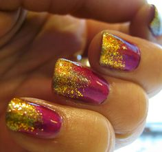 Glitter makes everything better! Magenta & gold glitter #nails