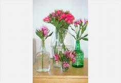 As garrafas foram reaproveitadas para abrigar rosas pink e astromélias
