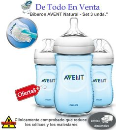 Teteros AVENT Natural 9oz Azules - Set 3 Unds.