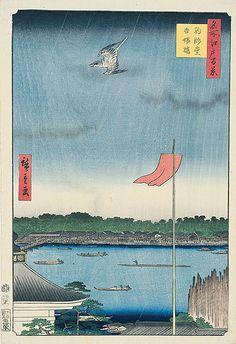 <名所江戸百景 駒形堂吾嬬橋 : KOMAGATADO AZUMABASHI> KOMAGATADO HALL AND AUMA BRIDGE HIROSHIGE UTAGAWA 1797-1858 Last of Edo Period