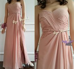 Nude pink long bridesmaid dress strapless evening by AyaBridal, $109.00