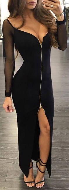 Mesh Long Sleeves Slit Zipper Front Bodycon Dress
