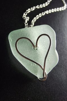 Sea Glass Jewelry - Heart Necklace - I HEART RI