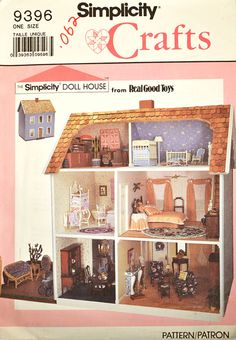 Vintage Simplicity 9396 Sewing Pattern - Doll House Interior Design - The Simplicity Doll House - 1980s