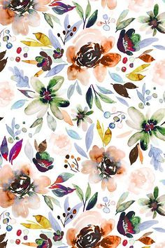 Indy Bloom Design Autumn Berry_Rose by indybloomdesign - Hand painted watercolor flowers in an autumn rose color palette on fabric, wallpaper, and gift wrap. #floral #watercolor #design #homedecor #wallpaper