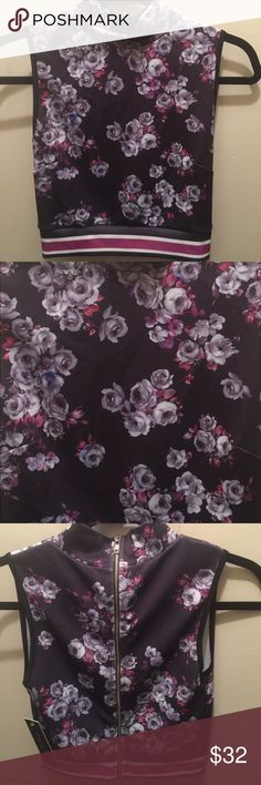 NWT Crop top Deep plum color & flowers extra touch feminine style  crop top , would look cute with oversized light cardigan label is Romeo & juliet sold at Nordstroms & Bloomingdales small 4/5 best fitted 32 to 34 bust Topshop Tops Crop Tops