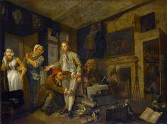 William Hogarth – A Rake's Progress: 1. The Rake Taking Possession of the Estate, 1734, oil on canvas.