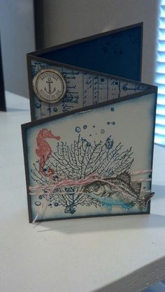 "By Michelle Pollard, a Z fold card, featuring Stampin' Up! stamp sets ""By The Tide"" and ""The Open Sea""."