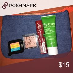 February Ipsy Bag **Price is at $15 to make my $10 back after being charged for an extra bag this month** All new and unused. You can ask a question or make me an offer. Includes ~Jean February 2017 Ipsy Bag ~NYX butter lipstick in Lifeguard ~Be fine Gentle Cleanser ~Elizabeth Mott Whatup Beaches Matte Bronzer ~IBY Beauty Highlighter in Bubbly Ipsy Makeup