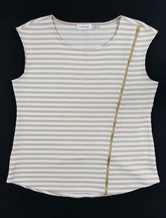 Calvin Klein Goldtone Zipper Detail Textured Striped Sleeveless Top Sz Large