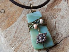 Stained Glass Fall Necklace Wire Wrapped by UniqueChiqueJewelry