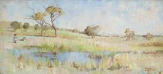 JANE PRICE (1860-1948)  Children Playing in a Landscape c1888 oil on canvasboard 30.5 x 62.5 cm signed lower right: J. R. Price