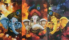 Three Cute Ganesha Faces (Reprint on Paper - Unframed)
