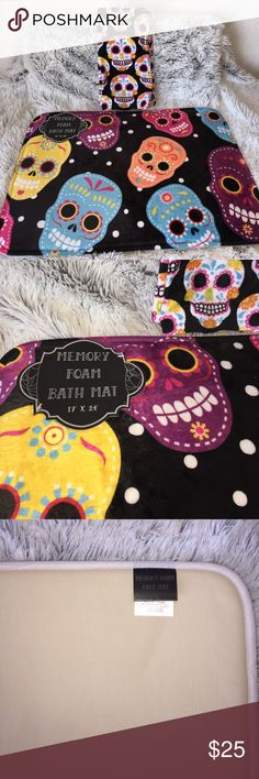"Sugar Skull Bathroom New sugar skull 3 piece set. Bathroom or kitchen! 17x24 inch memory foam bath mat with non slip grip back, & 2 ""kitchen"" towels. Hand towels. Priced together! Hot Topic Other"