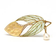 Art Nouveau Plique a Jour, Bloomed Gold, and Pearl - 2 #GoldJewelleryArtNouveau #GoldJewelleryBijoux