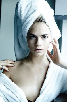 Cara Delevingne for Mario Testino's Towel Series, fall 2014.