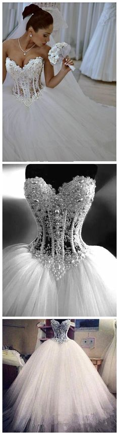ELEGANT SWEETHEART SLEEVELESS TULLE WEDDING DRESS WITH APPLIQUES BEADINGS WEDDING DRESSES BRIDAL GOWNS