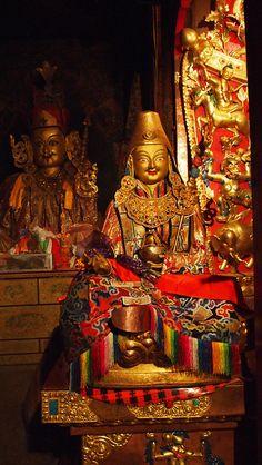 Statue of Padmasambhava at Samye Monastery, The first Buddhist monastery in Tibet which he helped found in the 8th century ce.