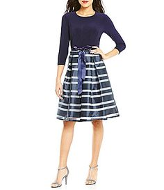 7c98e72c4eb Leslie Fay 3 4 Sleeve Striped Organza Party Dress